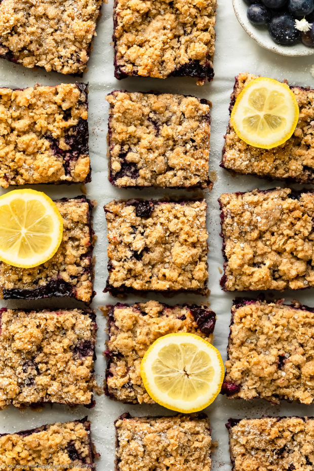 Overhead photo of Blueberry Crumb Bars cut into squares, sprinkled with powdered sugar and garnished with a couple slices of fresh lemon on a piece of white parchment paper.