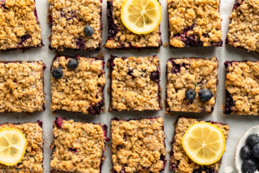 Overhead landscape photo of Lemon Blueberry Crumb Bars cut into squares, sprinkled with powdered sugar and garnished with a couple slices of fresh lemon on a piece of white parchment paper.