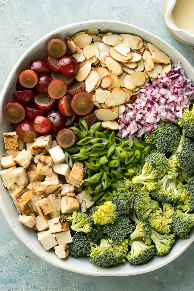 Overhead photo of all the ingredients needed to make cold broccoli salad neatly arranged by ingredient in a large bowl.