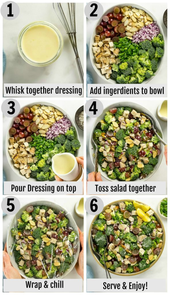 Overhead photo collage of how to make broccoli grape salad recipe step by step with written instructions on each step.