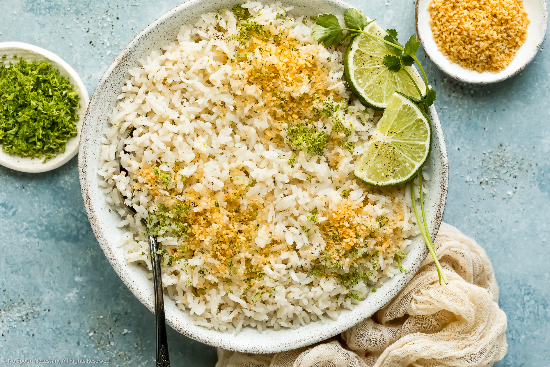 Overhead photo of easy coconut rice garnished with toasted coconut flakes and fresh lime zest in a white bowl with a serving spoon inserted into the rice and ramekins of lime zest and coconut flakes next to the bowl.