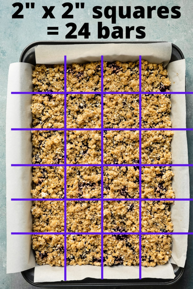 Overhead photo showing how to cut a 9x13-inch dessert into perfect squares.