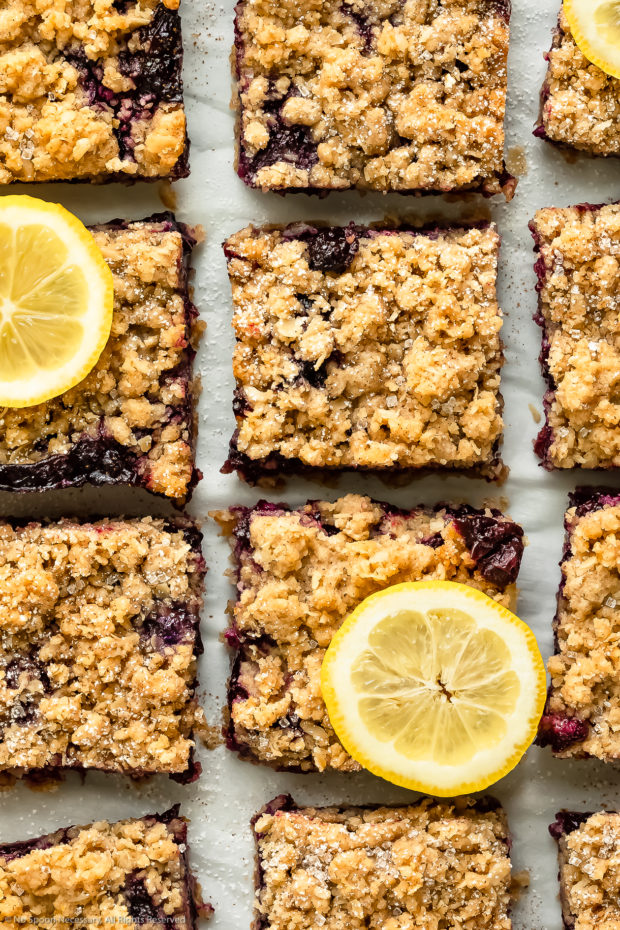 Overhead up close photo of Blueberry bars cut into squares and garnished with lemon slices.
