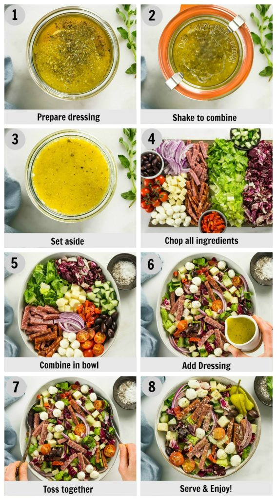 Overhead photo collage of how to make Italian Chopped Salad step by step with written instructions on each step.