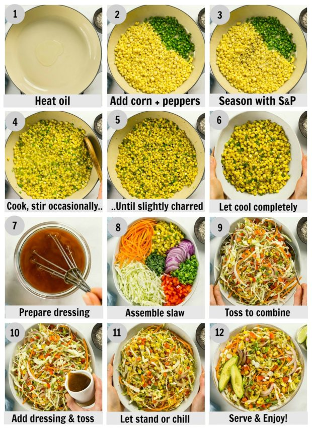 Overhead photo collage of how to make Mexican coleslaw step by step with written instructions on each step.