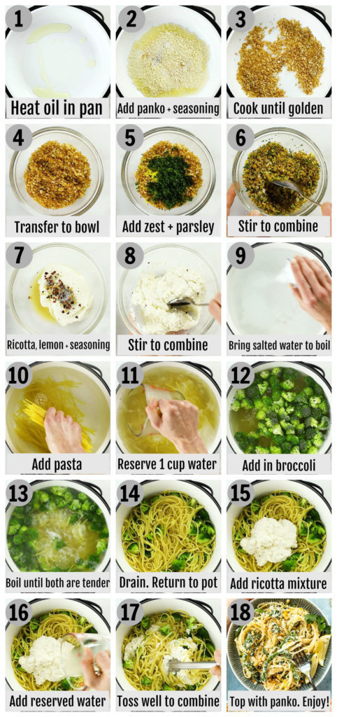 Overhead photo collage of how to make creamy broccoli pasta step by step with written instructions on each step.