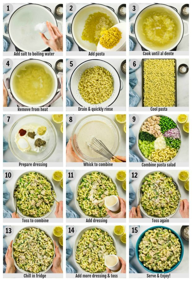 Overhead photo collage of how to make tuna macaroni pasta salad step by step with written instructions on each step.