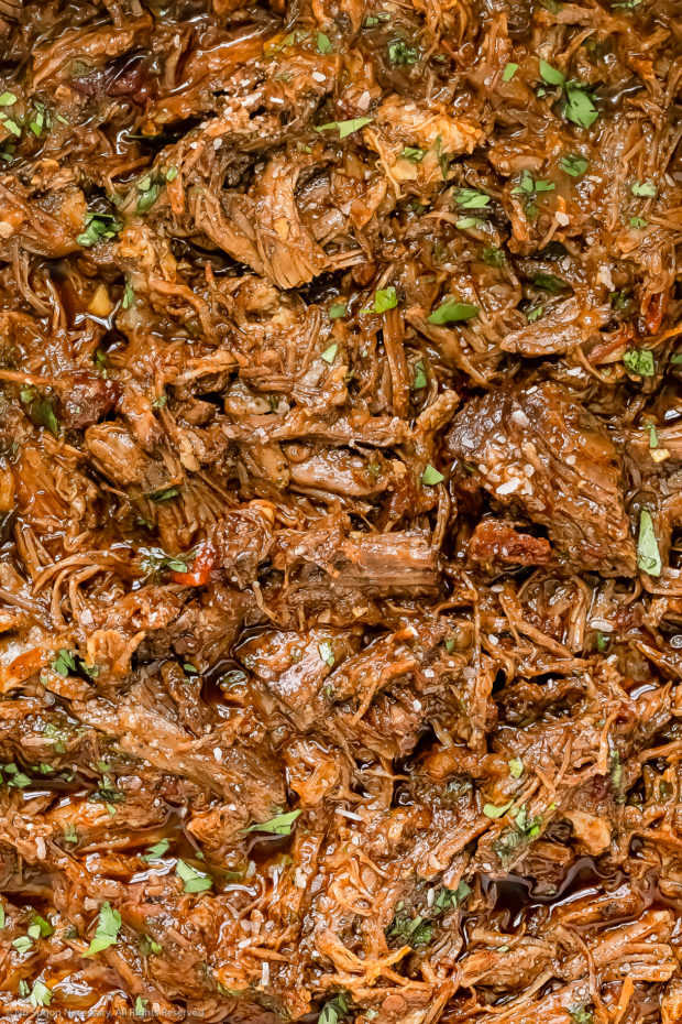Overhead, extreme close-up photo of tender Mexican shredded beef garnished with chopped fresh cilantro.