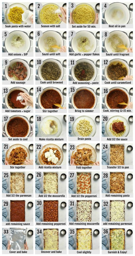 Overhead photo collage of how to make sausage baked ziti step by step with written instructions on each step.