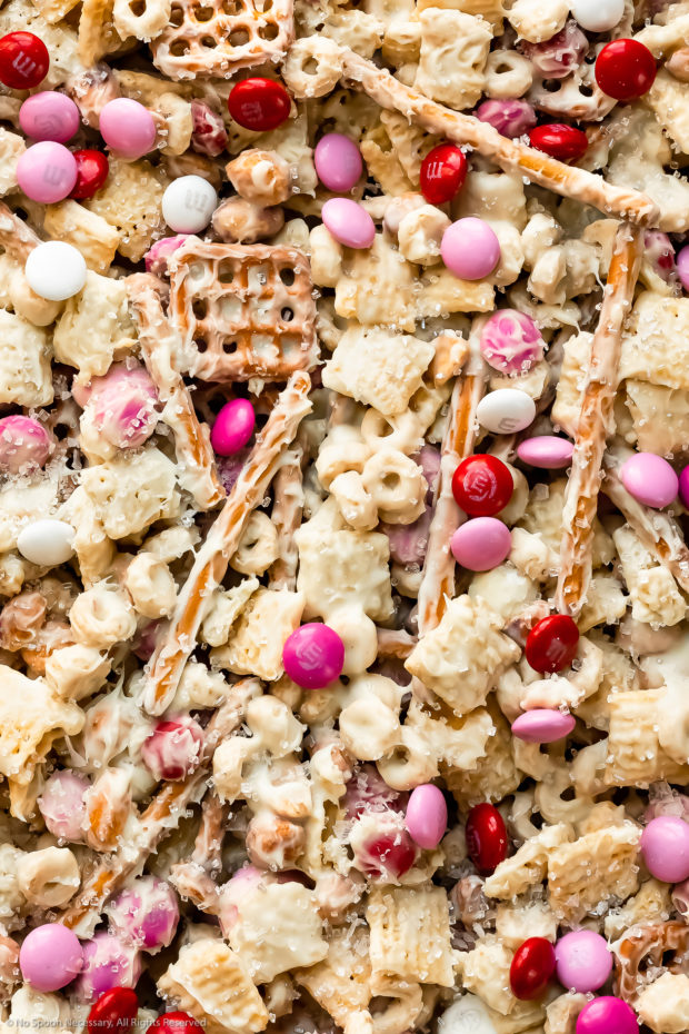 Overhead close-up photo of white chocolate Chex mix.