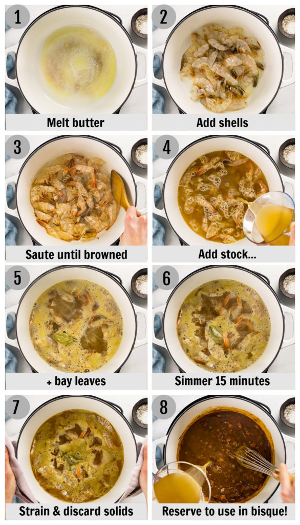 Overhead photo collage of how to make quick seafood stock step by step with written instructions on each step.
