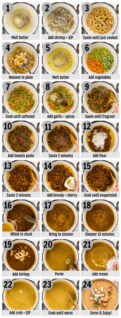 Overhead photo collage of how to make shrimp and crab seafood bisque step by step with written instructions on each step.
