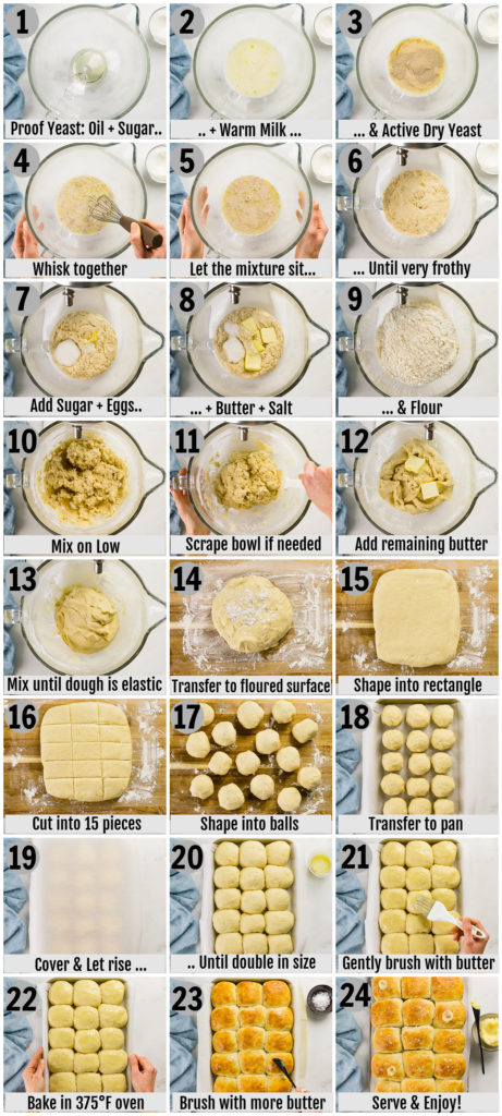 Overhead photo collage of how to make quick dinner rolls step by step with written instructions on each step.