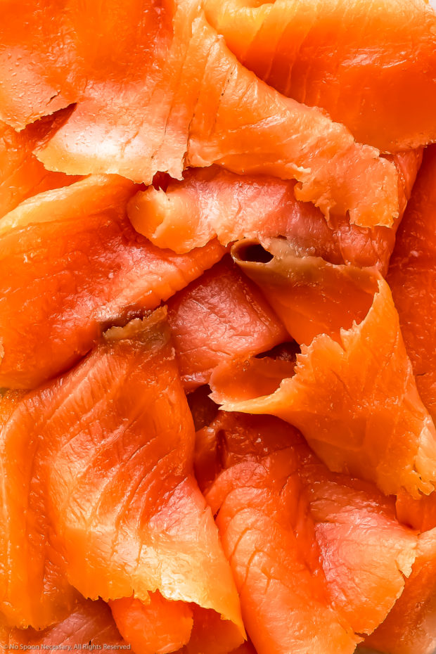 Overhead, close-up photo of smoked salmon - the main ingredient in the recipe.