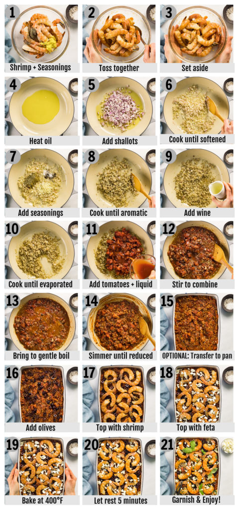 Overhead photo collage of how to make Greek Baked Shrimp Saganaki step by step with written instructions on each step.