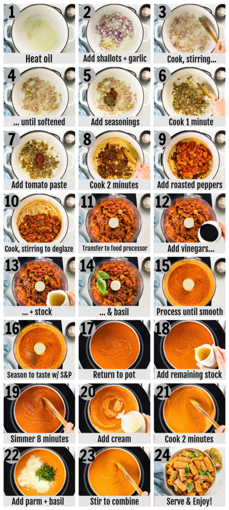 Overhead photo collage of how to make roasted red pepper pasta sauce from scratch.