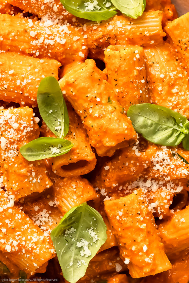 Overhead, close-up photo of red pepper rigatoni pasta garnished with freshly grated parmesan and basil leaves.