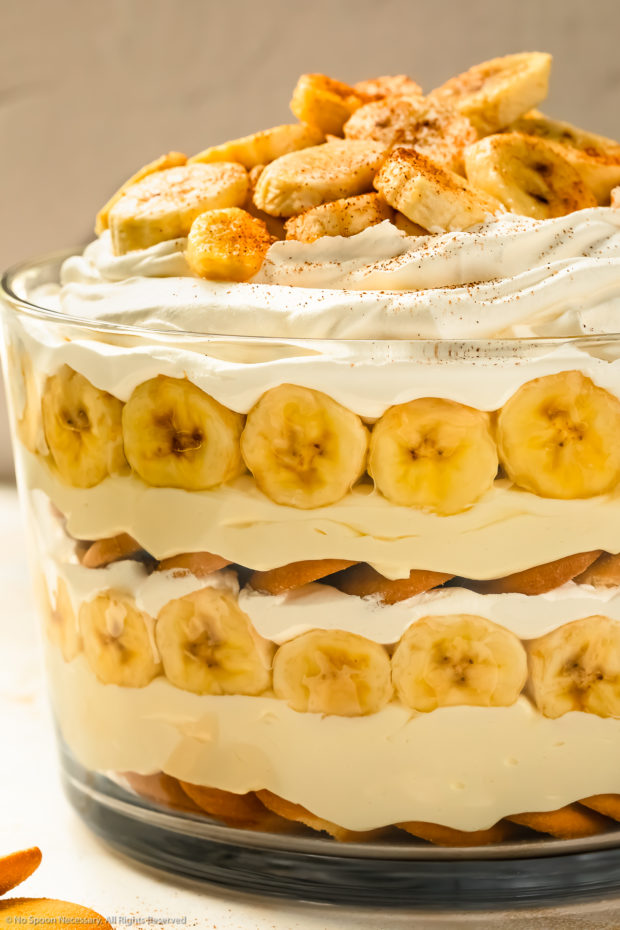 Straight on photo of easy banana pudding in a large trifle dish.