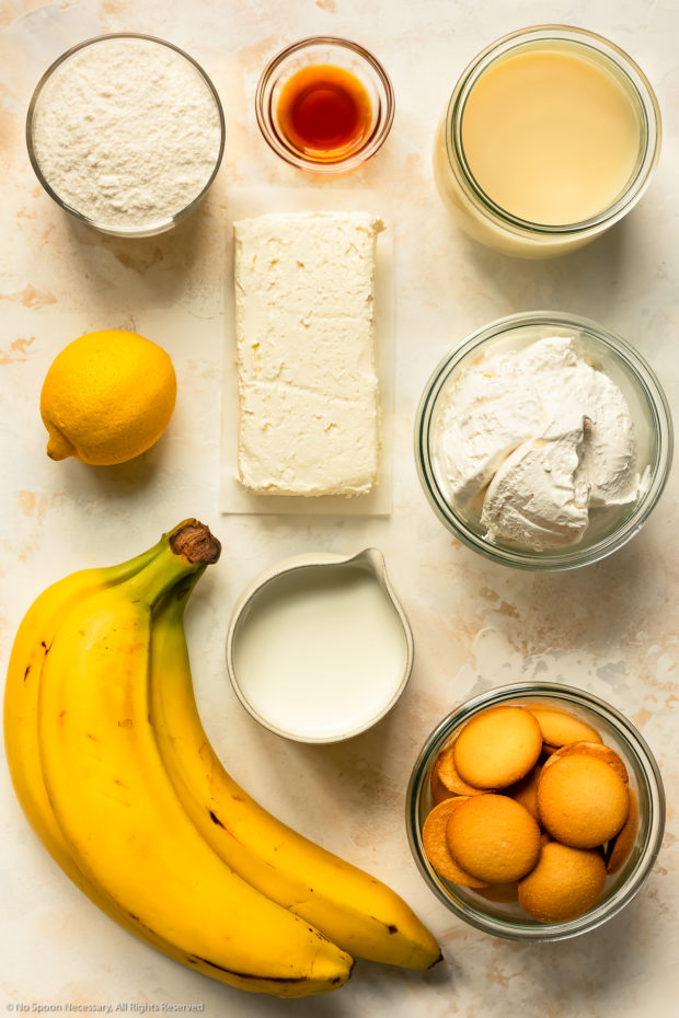 Overhead photo of all the ingredients in quick banana pudding recipe.