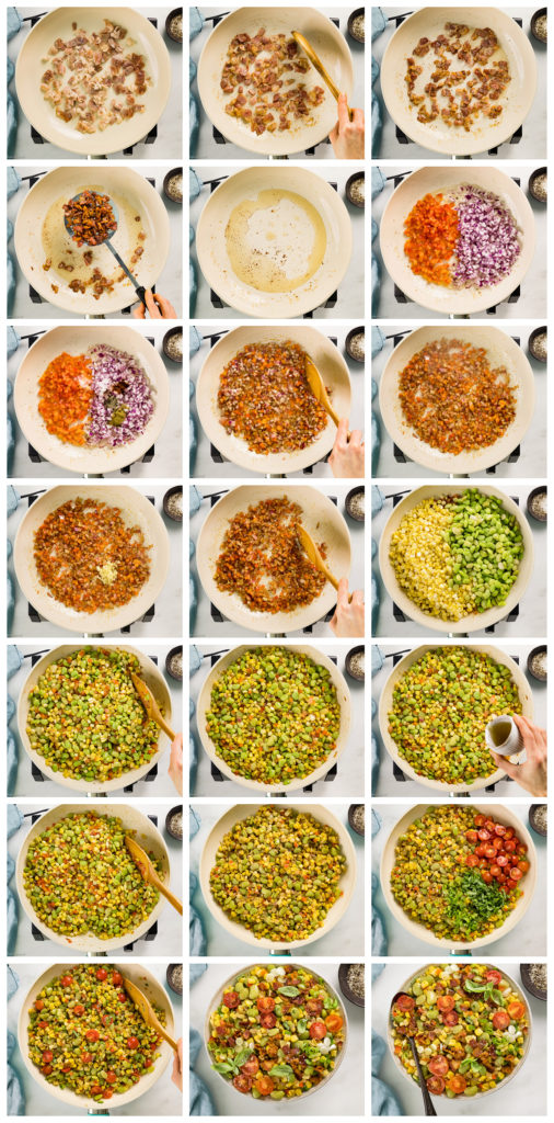 Overhead photo collage of how to make corn succotash recipe step by step with written instructions on each step.