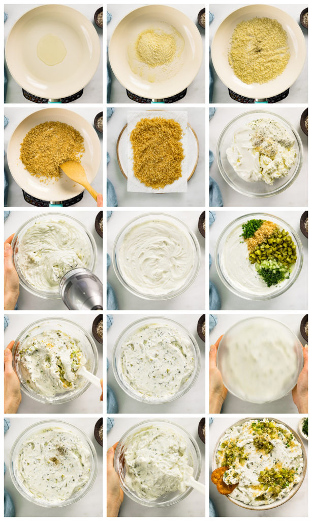 Overhead photo collage of how to make copycat fried pickle and ranch dip step by step with written instructions on each step.