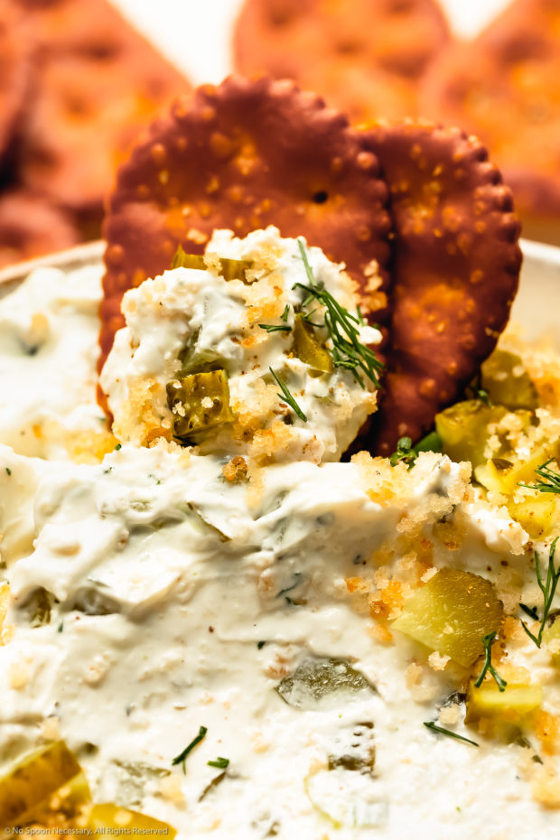 Angled, close-up photo of pretzel chips inserted into a creamy dip made of cream cheese, chopped pickles, fresh herbs, ranch and toasted breadcrumbs.